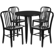 """Commercial Grade 30"""" Round Black Metal Indoor-Outdoor Table Set with 4 Vertical Slat Back Chairs"""