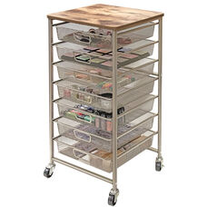 Industrial Storage Cart with Baskets and Rolling Casters - Silver