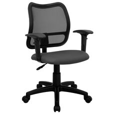 Mid-Back Gray Mesh Swivel Task Office Chair with Adjustable Arms