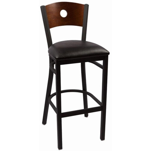 Our Circle Series Wood Back Armless Barstool with Steel Frame and Vinyl Seat - Walnut is on sale now.