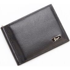 RFID Blocking Money Clip Credit Card Front Pocket Wallet -Saffiano Genuine Leather - Black