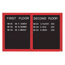 2 Door Indoor Illuminated Enclosed Directory Board with Red Anodized Aluminum Frame - 48