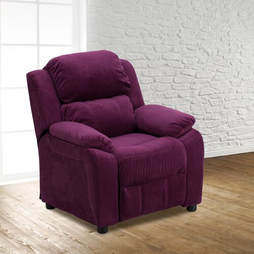 Our Deluxe Padded Contemporary Purple Microfiber Kids Recliner with Storage Arms is on sale now.