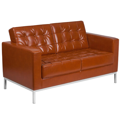 Our HERCULES Lacey Series Contemporary Cognac LeatherSoft Loveseat with Stainless Steel Frame is on sale now.