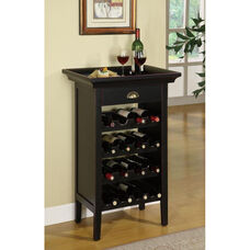 Wine Cabinet with Lift Off Tray Top - Black with Merlot Rub Through