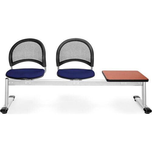 Our Moon 3-Beam Seating with 2 Navy Fabric Seats and 1 Table - Cherry Finish is on sale now.