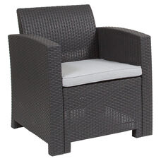 Dark Gray Faux Rattan Chair with All-Weather Light Gray Cushion