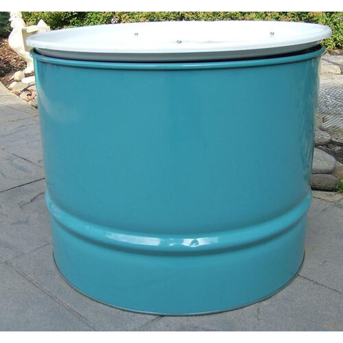Our Turquoise Steel Drum Table with White Top is on sale now.