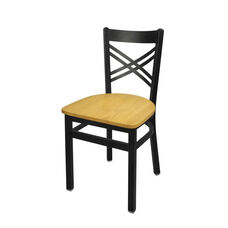 Akrin Metal Cross Back Chair - Natural Wood Seat