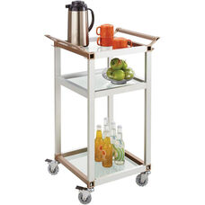 Refreshment Cart with Tempered Glass - Silver