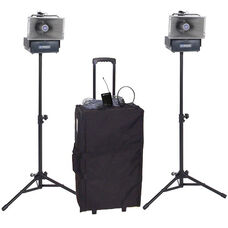 Wireless Speakers Half-Mile 50 Watt Hailer Kit with Wireless Headset and Lapel Microphones - 12.5
