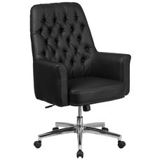 Mid-Back Traditional Tufted Black Leather Executive Swivel Office Chair with Arms