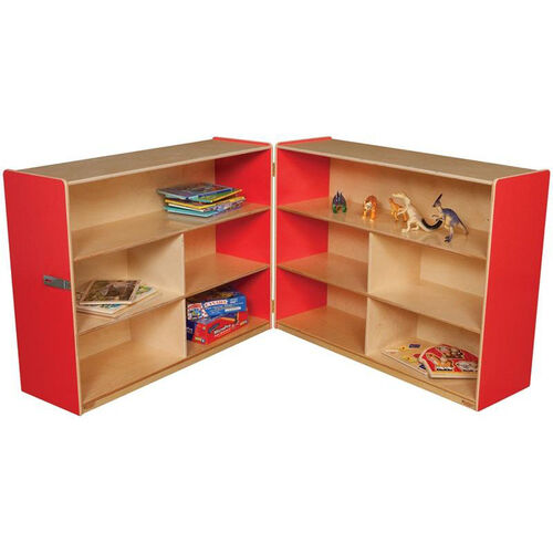 Our Wooden 10 Compartment Double Folding Mobile Storage Unit - Strawberry - 96