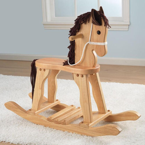 Heirloom Quality Kids Wooden Anti-Tip Derby Rocking Horse - Natural