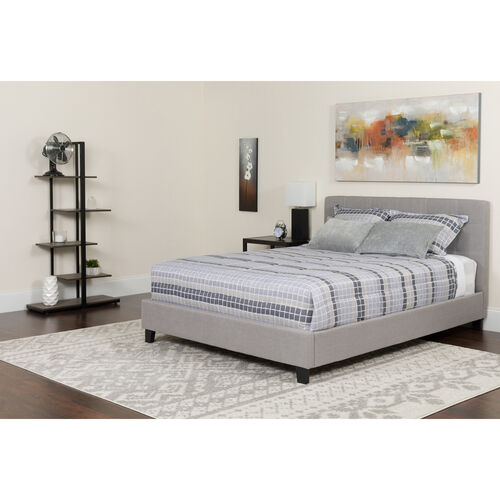 Our Chelsea Queen Size Upholstered Platform Bed in Light Gray Fabric is on sale now.