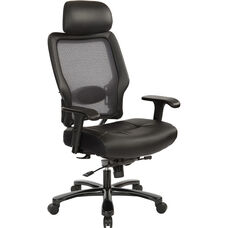 Space Executive Big and Tall Bonded Leather Office Chair with Headrest and 400 lb. Weight Capacity