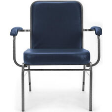 Comfort Class Big & Tall 500 lb. Capacity Anti-Microbial and Anti-Bacterial Vinyl Stack Chair with Arms- Navy
