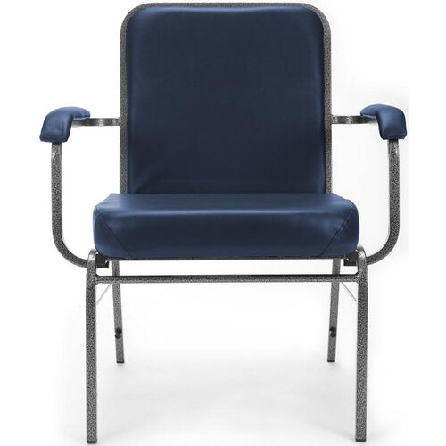 Our Comfort Class Big & Tall 500 lb. Capacity Anti-Microbial and Anti-Bacterial Vinyl Stack Chair with Arms- Navy is on sale now.