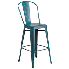 """Commercial Grade 30"""" High Distressed Kelly Blue-Teal Metal Indoor-Outdoor Barstool with Back"""