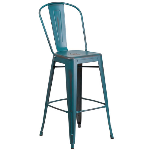 """Our Commercial Grade 30"""" High Distressed Kelly Blue-Teal Metal Indoor-Outdoor Barstool with Back is on sale now."""