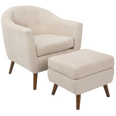 Rockwell Mid-Century Modern Fabric Button Tufted Fabric Accent Chair with Ottoman - Beige