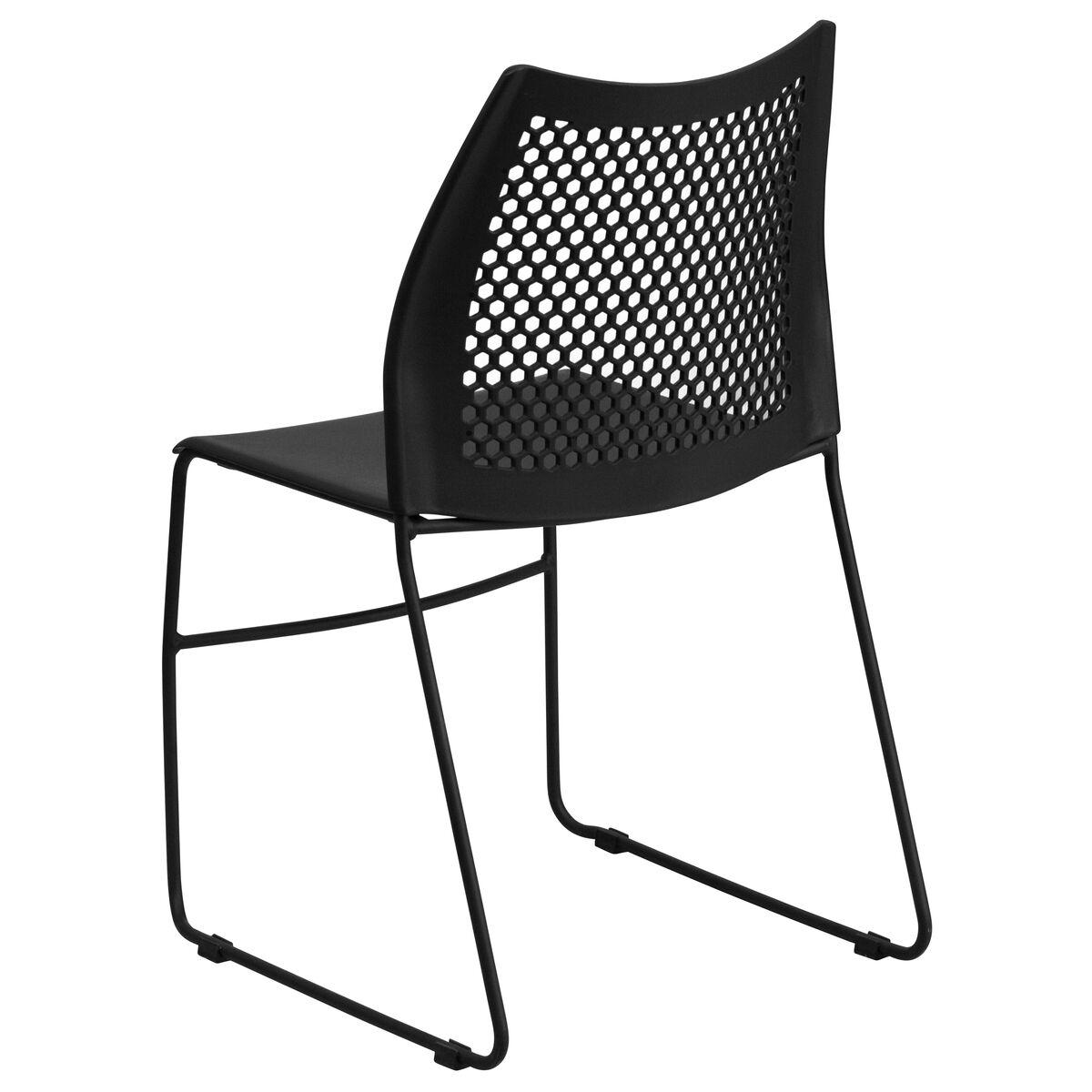 Black Plastic Sled Stack Chair Rut 498a Black Gg