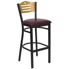 Black Slat Back Metal Restaurant Barstool with Natural Wood Back & Burgundy Vinyl Seat