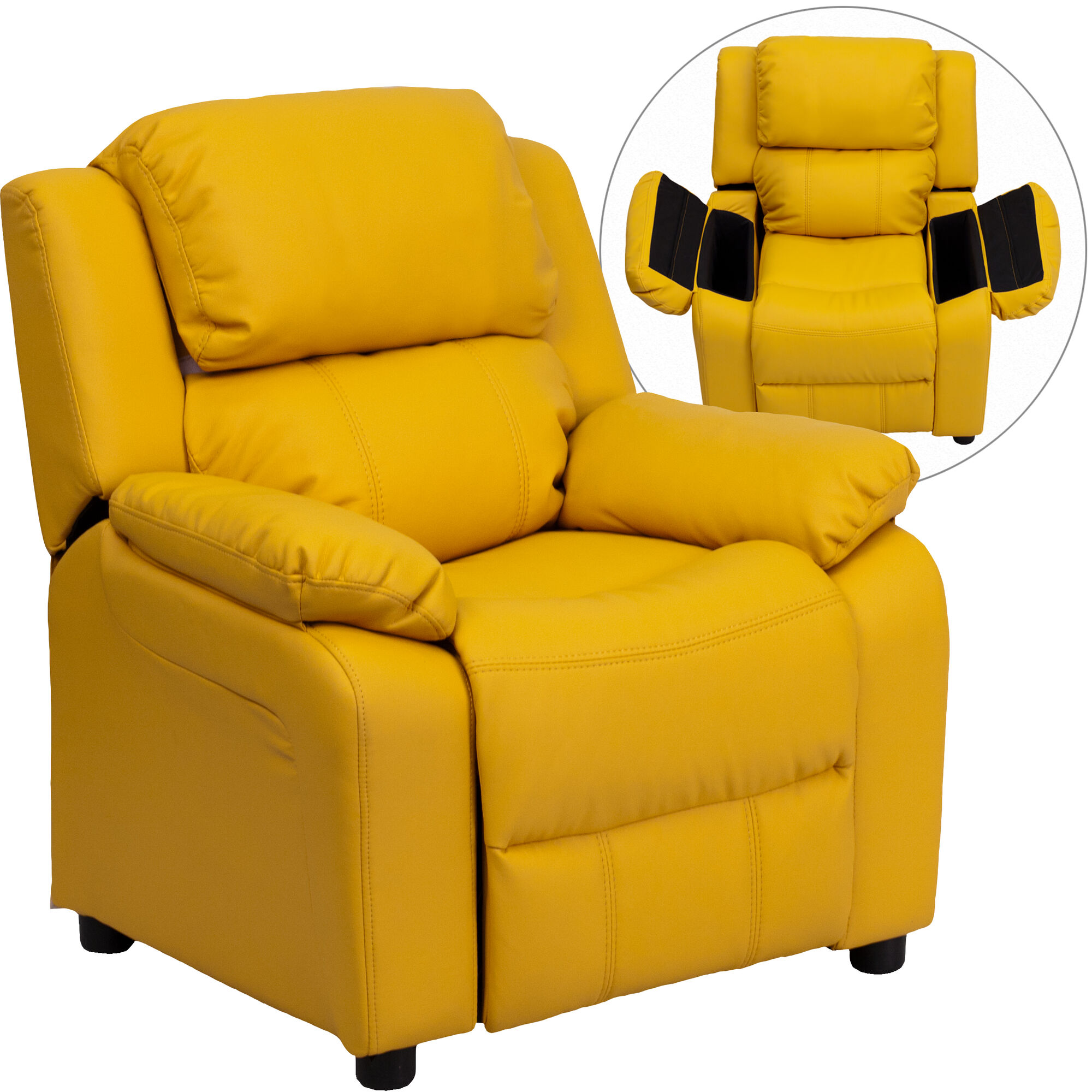 Our Deluxe Padded Contemporary Yellow Vinyl Kids Recliner