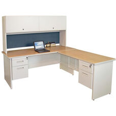 Pronto® Solid Steel Double Pedestal Desk with Return and Flipper Doors - Oak Laminate and Putty Finish with Slate Fabric