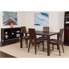 Dalston 5 Piece Espresso Wood Dining Table Set with Curved Slat Keyhole Back Wood Dining Chairs - Padded Seats