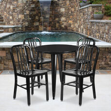 "Commercial Grade 30"" Round Black Metal Indoor-Outdoor Table Set with 4 Vertical Slat Back Chairs"