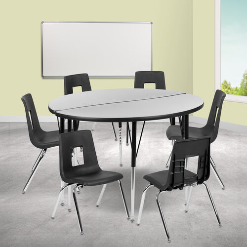 """47.5"""" Circle Wave Collaborative Laminate Activity Table Set with 18"""" Student Stack Chairs, Grey/Black"""