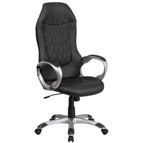 High Back Vinyl Executive Swivel Office Chair with Arms