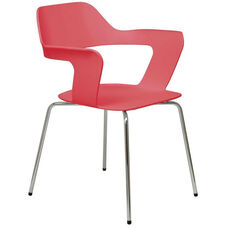 Julep Series Stacking Arm Chair with Flex Poly Shell and Silver Frame - Red