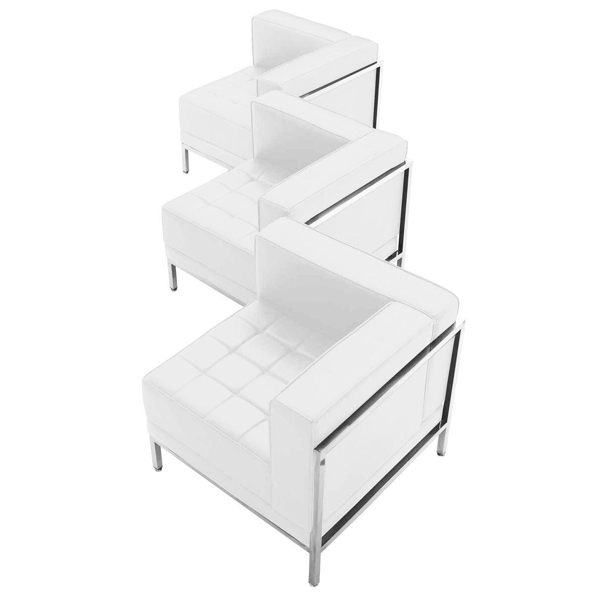 white leather corner chair 3pc zb imag set4 wh gg bizchair com