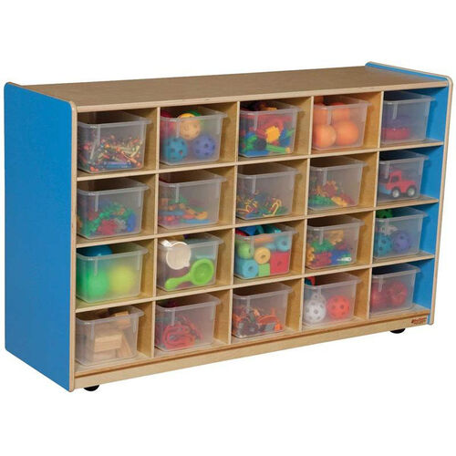 Wooden Mobile Storage Unit with 20 Clear Plastic Trays - Blueberry - 48