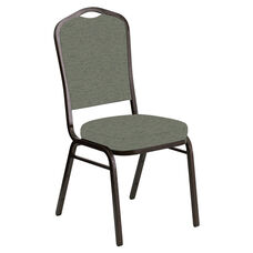 Embroidered Crown Back Banquet Chair in Ravine Thyme Fabric - Gold Vein Frame