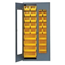 Clear-View Security Bin Cabinet with 28 Bins - Yellow