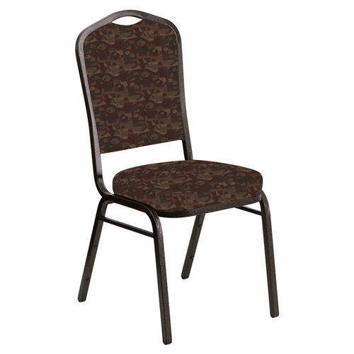 Our Embroidered Crown Back Banquet Chair in Perplex Blaze Fabric - Gold Vein Frame is on sale now.