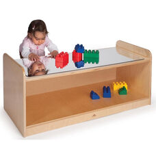 Toddler Play Table with Mirror Top in Shatterproof Acrylic with 3 Clear Trays