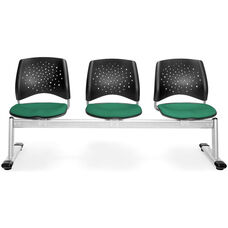 Stars 3-Beam Seating with 3 Fabric Seats - Shamrock Green