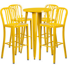 """Commercial Grade 24"""" Round Yellow Metal Indoor-Outdoor Bar Table Set with 4 Vertical Slat Back Stools"""