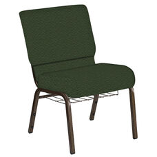 Embroidered 21''W Church Chair in Fiji Emerald Fabric with Book Rack - Gold Vein Frame