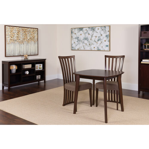 Our Westerly 3 Piece Espresso Wood Dining Table Set with Dramatic Rail Back Design Wood Dining Chairs - Padded Seats is on sale now.