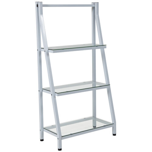 """Our Winfield Collection 3 Shelf 45.5""""H Glass Bookcase with White Metal Frame is on sale now."""