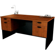 Hampton Executive Workstation with Hanging Pedestals - Tuscany Brown and Black