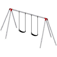 Two Seat Primary Tripod Swing Set with Galvanized Swing Chains and Thirteen Gauge Steel Frame - 96