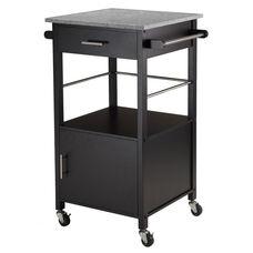 Davenport Kitchen Cart with Solid Grey Granite Top - Black