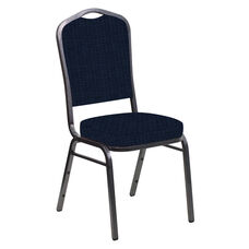 Embroidered Crown Back Banquet Chair in Highlands Navy Fabric - Silver Vein Frame