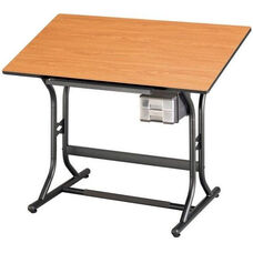 Height Adjustable Drafting Table with Black Base and Cherry Woodgrain Top 24